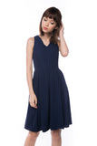 Leah Pine Stripe Full Circle Midi in Navy - Mint Ooak - Dress - 3