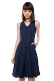 Leah Pine Stripe Full Circle Midi in Navy - Mint Ooak - Dress - 2