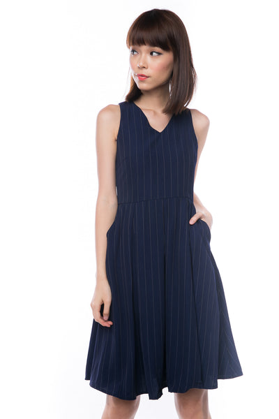 Leah Pine Stripe Full Circle Midi in Navy - Mint Ooak - Dress - 1