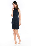 Raye Cheongsam Tulip Dress in Navy