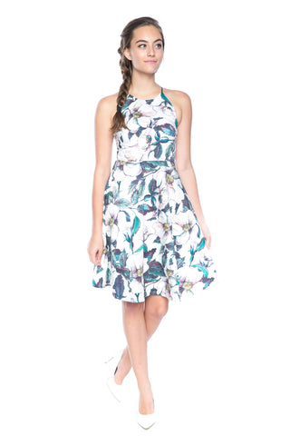 Lowry Cut-in Floral Skater Midi - Mint Ooak - Dress - 1