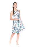 Lowry Cut-in Floral Skater Midi - Mint Ooak - Dress - 2
