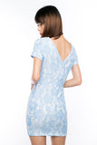 Rhonda V-Back Lace Dress in Sky