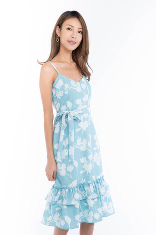 Azlicia Ruffle Drop Hem Printed Midi in Mint
