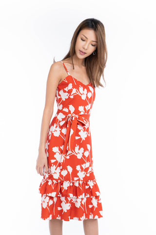 Azlicia Ruffle Drop Hem Printed Midi in Red