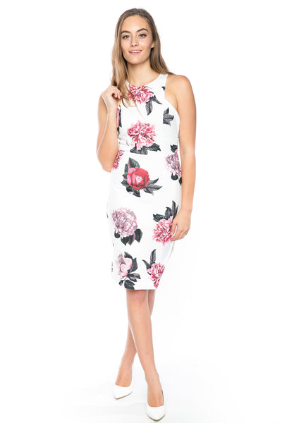 Serena Floral Midi with Side Slit in white - Mint Ooak - Dress - 1