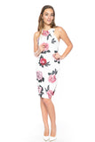 Serena Floral Midi with Side Slit in white - Mint Ooak - Dress - 3