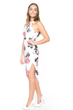 Serena Floral Midi with Side Slit in white - Mint Ooak - Dress - 4