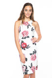 Serena Floral Midi with Side Slit in white - Mint Ooak - Dress - 5
