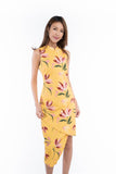 Tia Cross-over Detail Cheongsam in Yellow Floral