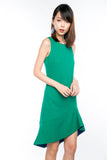 Fiona Dip Hem Colourblock Hem Midi in Emerald Green