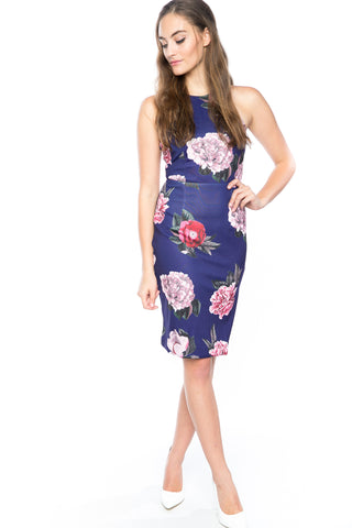 Serena Floral Midi with Side Slit in Blue - Mint Ooak - Dress - 1
