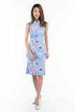 Renne Classic Cheongsam in Blue Abstract