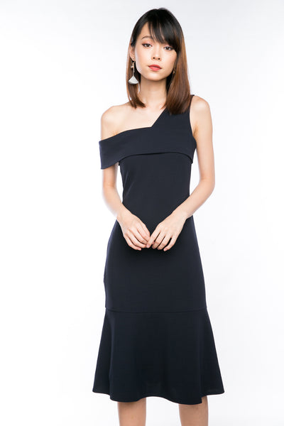 Claireen Toga Bardot Midi in Midnight Blue