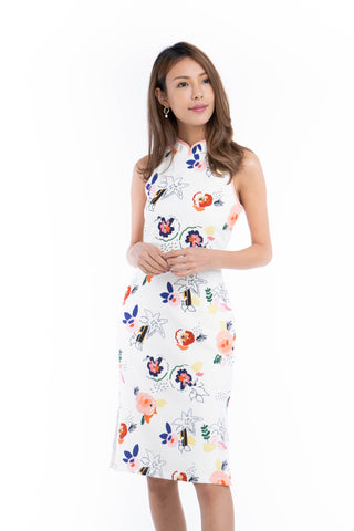 Renne Classic Cheongsam in White Abstract