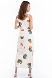 Wendy Tie Detail Abstract dress in Cream Peach