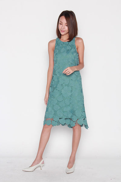 Nadia Crochet Dress in Teal