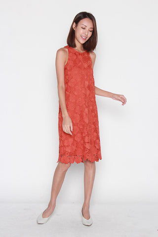 Nadia Crochet Dress in Dark Rust
