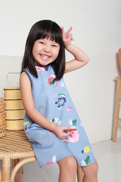 Mini Renne Classic Cheongsam in White Blue