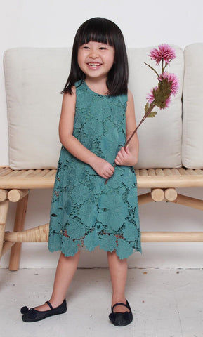 Mini Nadia Crochet Dress in Teal