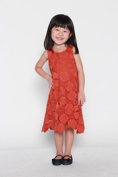 Mini Nadia Crochet Dress in Dark Rust