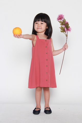 Mini Charlene Button Dress in Dark Salmon