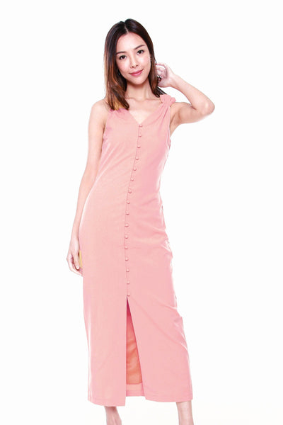 Juliana Button Down Maxi Dress in Rose