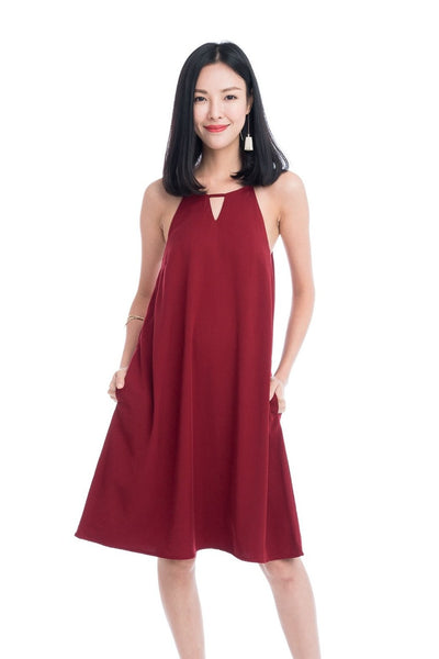 Evie Trapeze Dress in Red