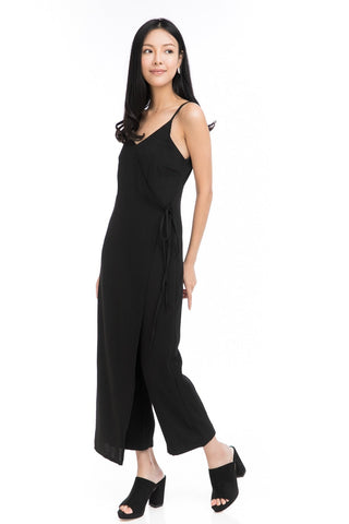Tessa Tie Romper in Black