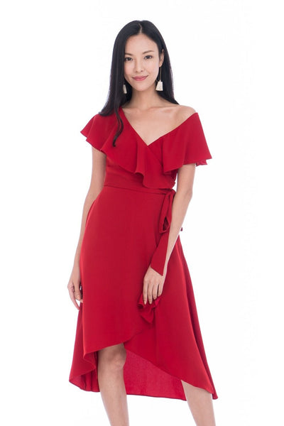 Nina Ruffle Top Off shoulder Wrap Dress in Hot Red