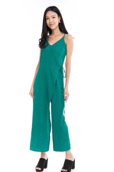 Tessa Tie Romper in Emerald Green