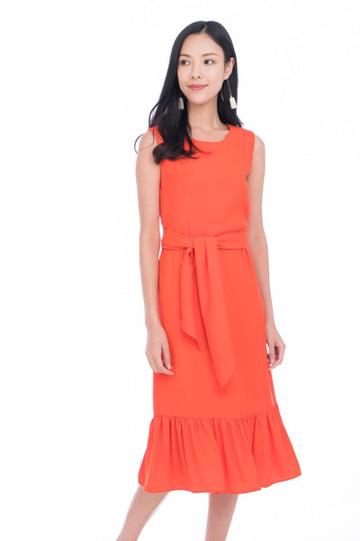 Saige Crop Top Tie Ruffle Multiway Dress in Orange