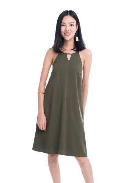Evie Trapeze Dress in Olive