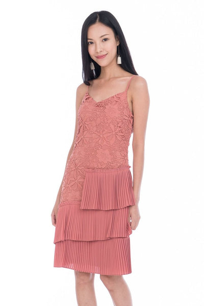 Alexis Crochet Pleated Midi in Salmon