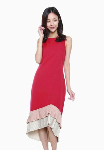 Abigail Tiered Asymmetrical Pleated Hem Dress in Red