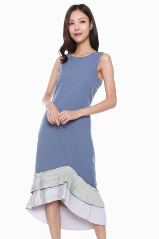 Abigail Tiered Asymmetrical Pleated Hem Dress in Blue