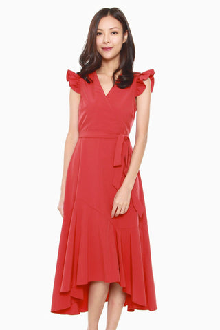 Madison Ruffled Cap Sleeves Dress in Dark Orange