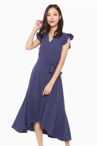 Madison Ruffled Cap Sleeves Dress in Blue
