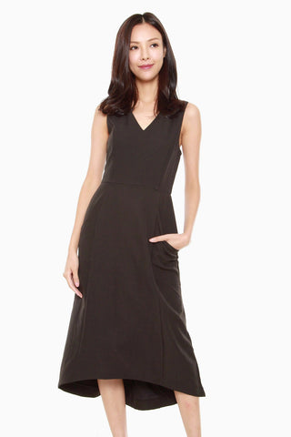 Felicia Assymetric Sheath Dress in Black