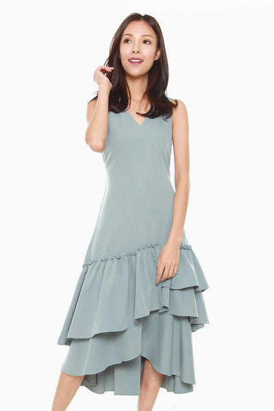 Joanne Sheath Dress with Ruffles Hem in Light Blue