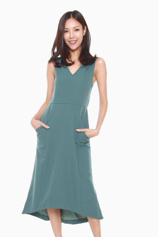 Felicia Assymetric Sheath Dress in Jade