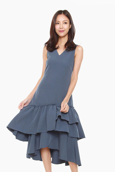 Joanne Sheath Dress with Ruffles Hem in Dark Blue