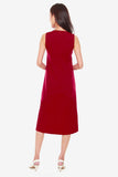 Jenn Shift Dress with Pleated Hem in Red