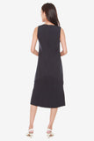 Jenn Shift Dress with Pleated Hem in Navy