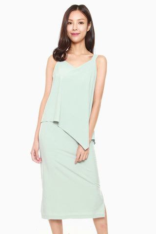 Angeline Ruffle Dress in Mint