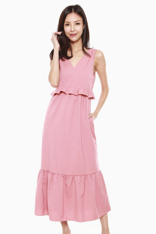 Giselle Ruffles Hem Dress in Rose