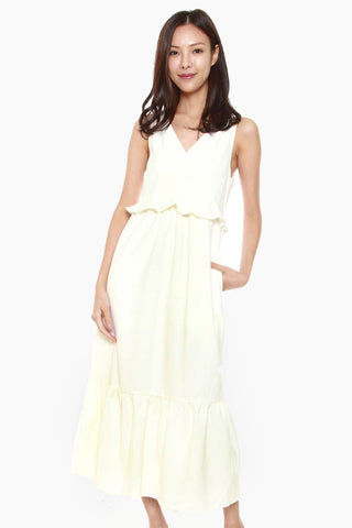 Giselle Ruffles Hem Dress in White