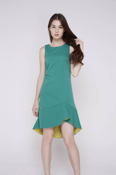 Fiona Dip Hem Colour Block Midi in Green