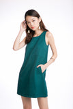 Jean Panel Block Shift dress in Emerald Green