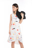 Mika Abstract Brush Print Midi